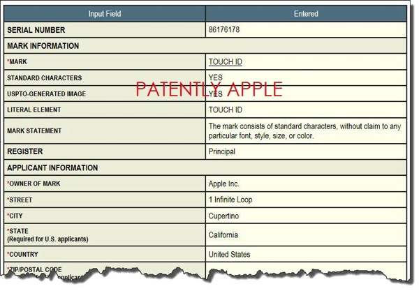 Touch ID trademark