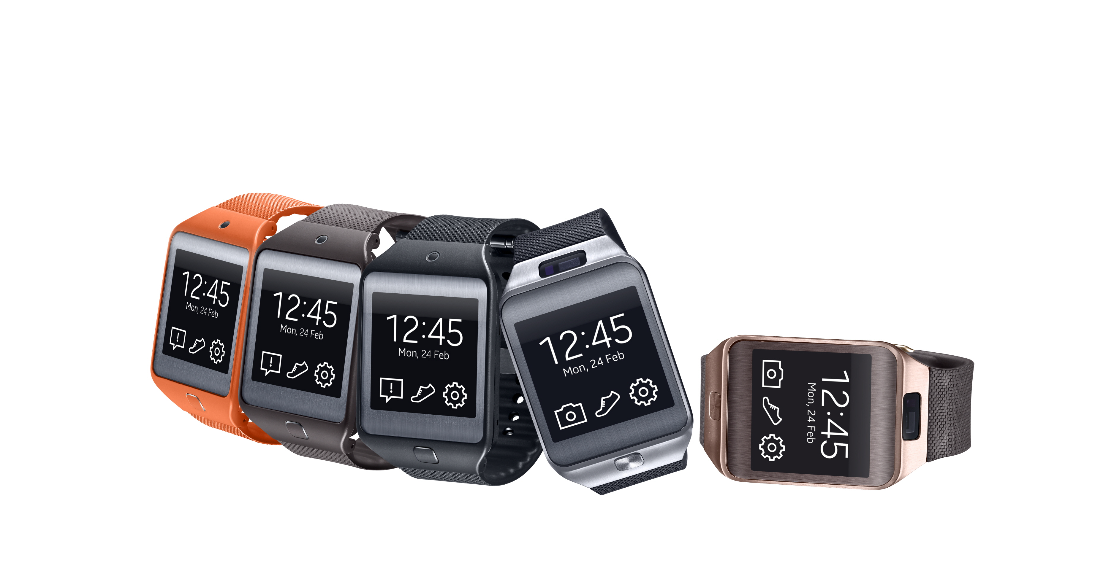 Gear 2 Neo (Three left-most devices) and Gear 2 (Two right-most devices)