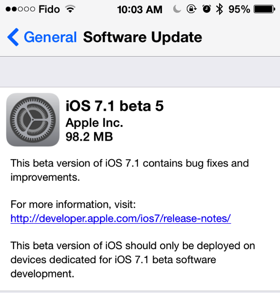 Apple Releases iOS 7.1 Beta 5 to Developers