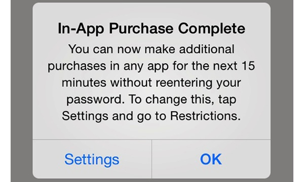 In app purchase warning message