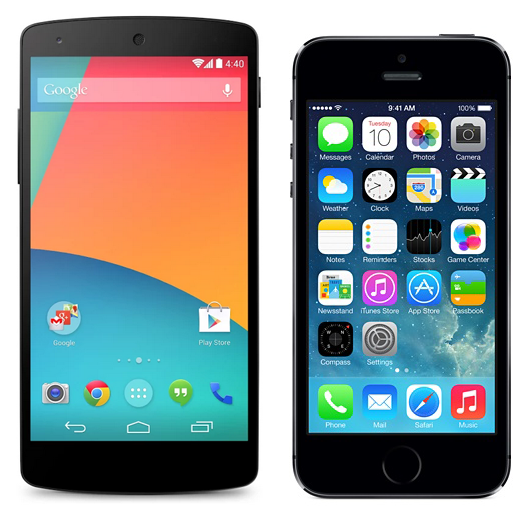Nexus-5-vs-iPhone-5s