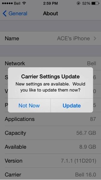 Bell carrier update