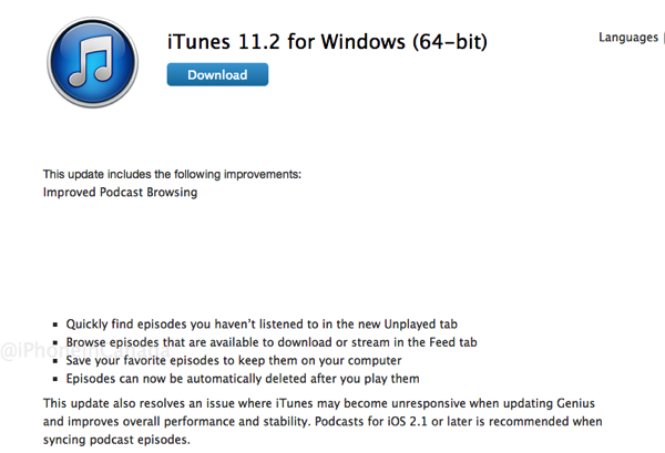 iTunes 11 2 for Windows (64-bit) and Mac Download Now Available