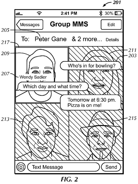 Apple messages ui patent 1