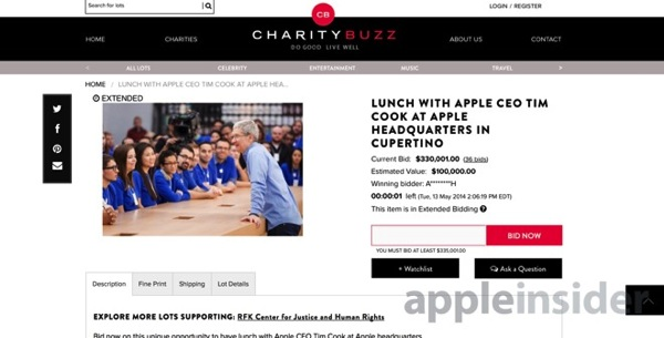 Charity buzz tim cook lunch date