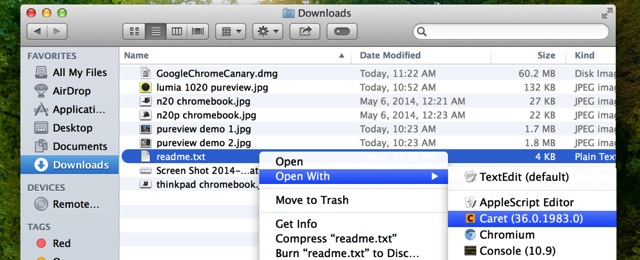 Finder with chrome apps