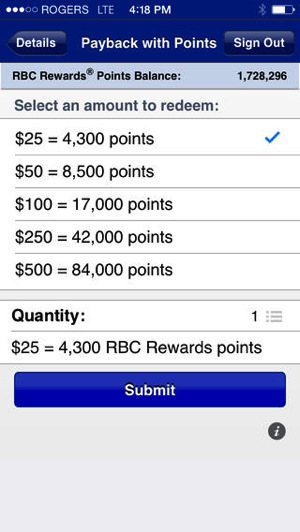 Rbc pay with points