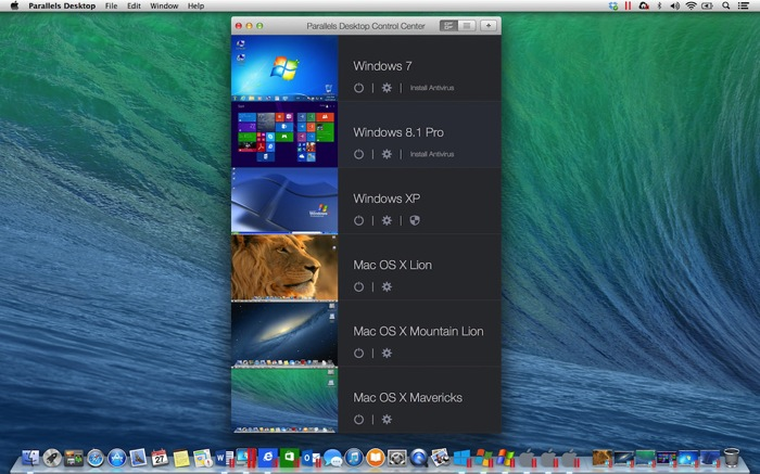 Parallels Desktop 10 for Mac New Control Center