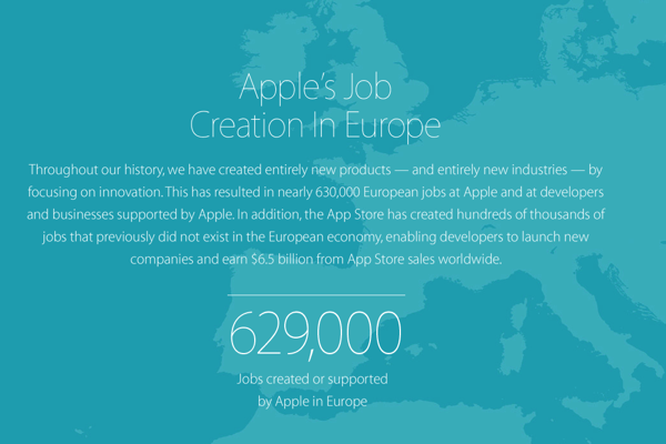 Apple jobs creation europe