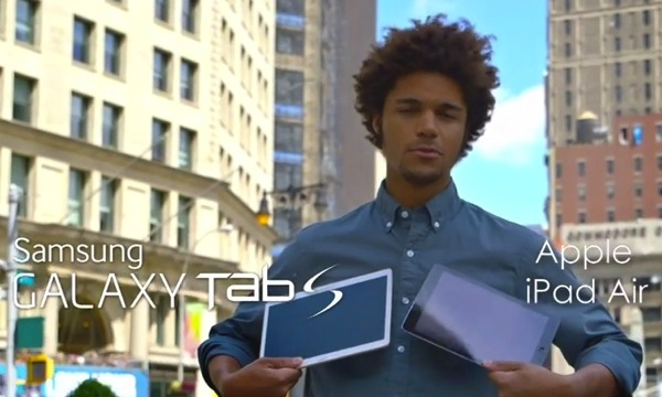 "Samsung Galaxy Tab S Ad: ""Thinner, Brighter and Lighter"" vs iPad Air"