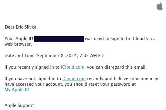 Icloud web login alert email