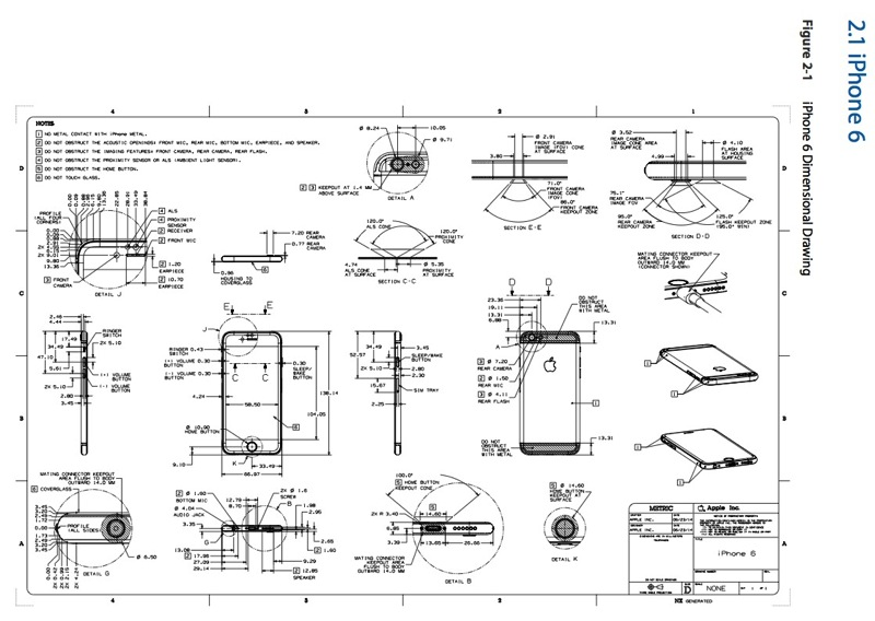 iphone 6 dimensions apple posts detailed phone 6 design schematics for 11319