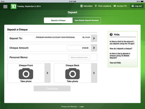 TD Canada Launches Photo Cheque Deposits via iPhone, iPad