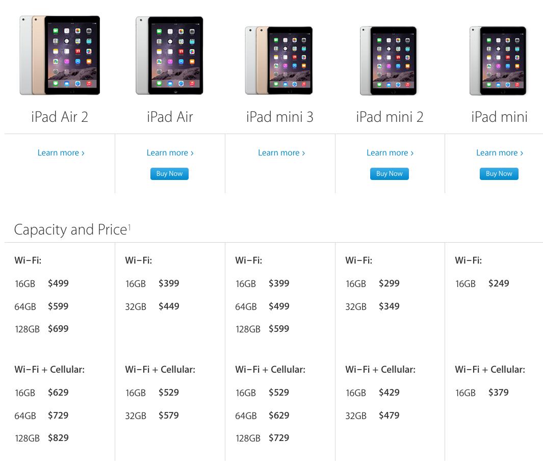 Here Are Apples New Ipad Air 2 Retina Ipad Mini 3 Prices In Canada