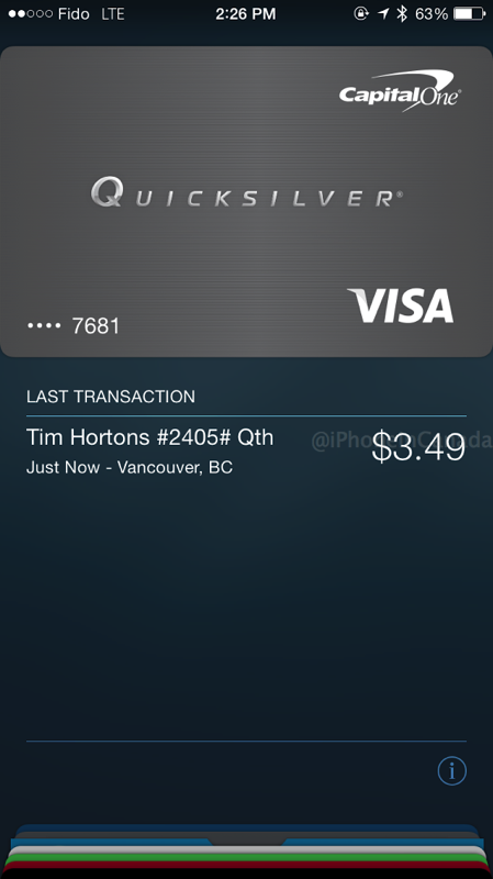 Apple pay tim hortons