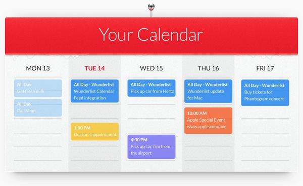 Wunderlist calendar