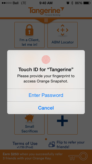 Tangerine Mobile Banking for iOS Updated with Touch ID Support