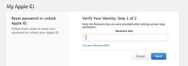 Recovery key apple id