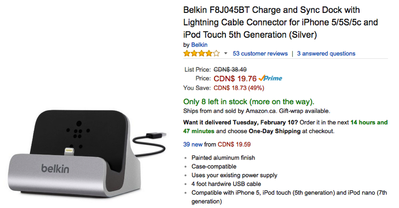 Amazon.ca Sale: Belkin iPhone 5/5S/5C 'Charge & Sync' Dock Restocked for 49% Off