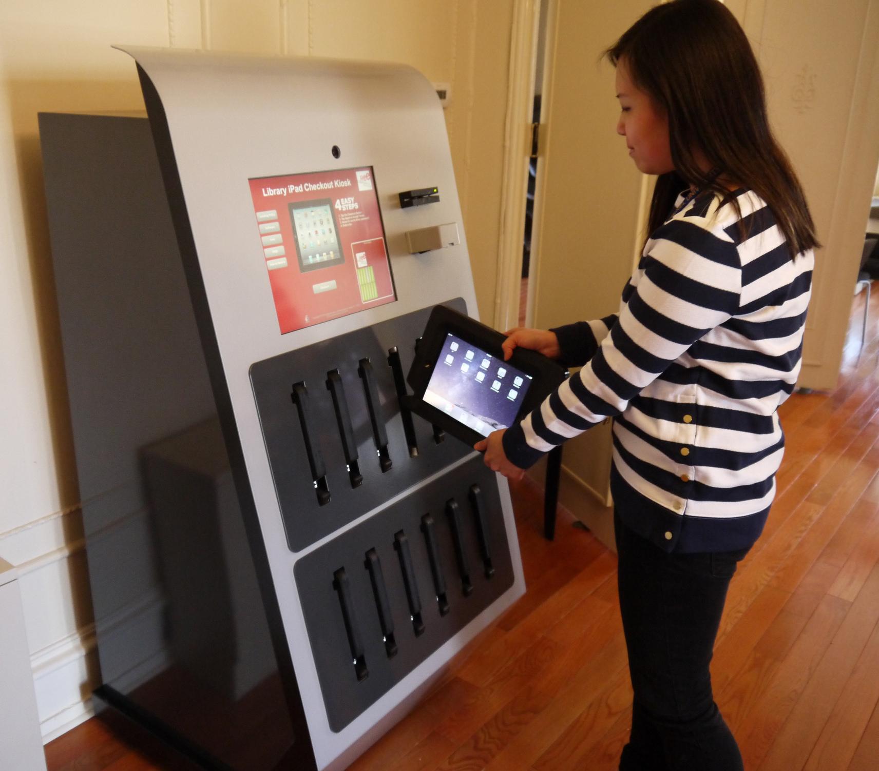 Ipad kiosk checking out ipad