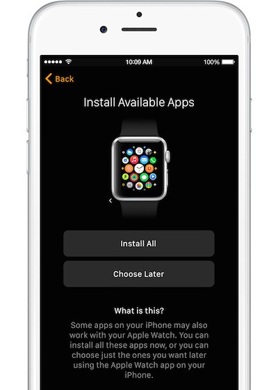 Watch iphone install apps