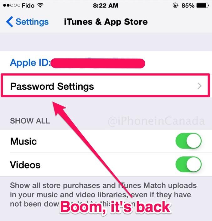 app store password setttings