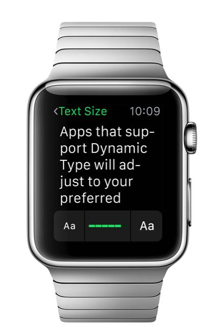 Dynamic type apple watch