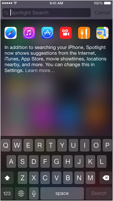 Iphone6 ios8 spotlight search