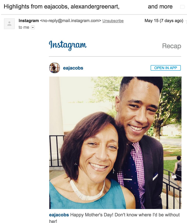 Instagram email highlights