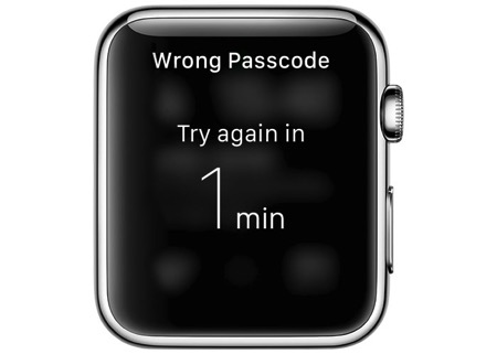 Watch wrong passcode