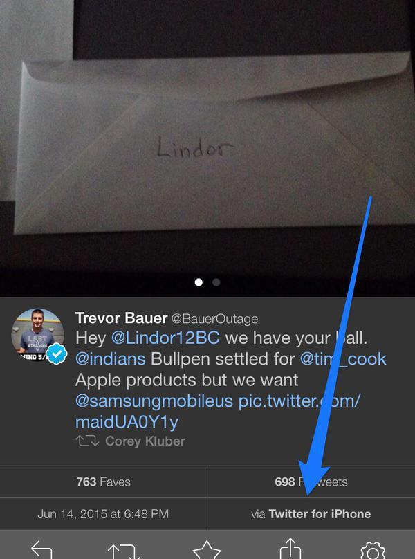 Lindor samsung ransom ball bauer iphone tweet