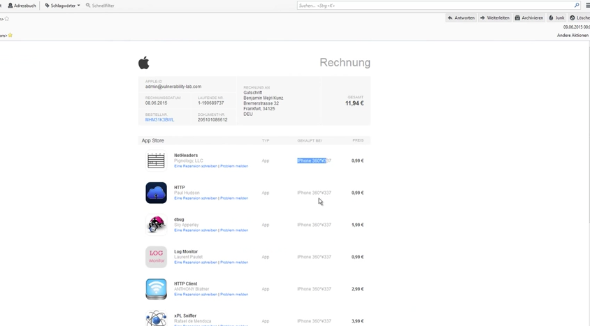 Researcher Uncovers Critical Flaw In Apple App Store And ITunes - Appstore invoice