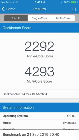 Iphone 6s geekbench single