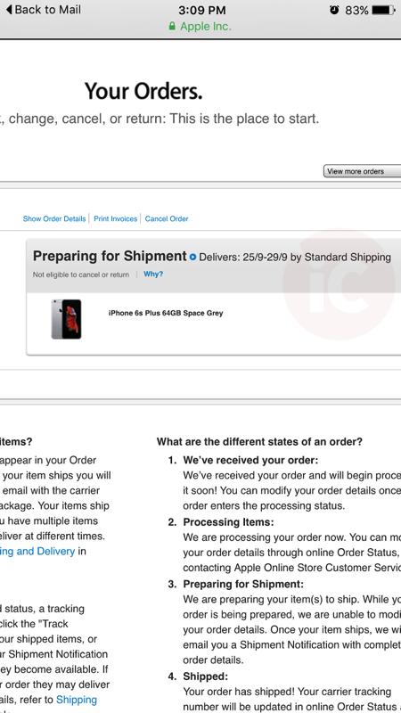 Iphone 6s preparing shipment