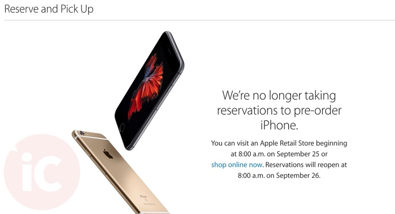 Iphone 6s reserve and pick up closed