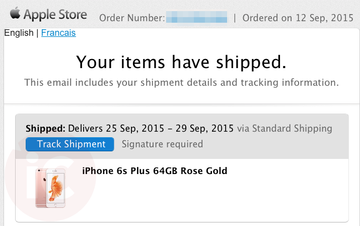 Iphone 6s shipped