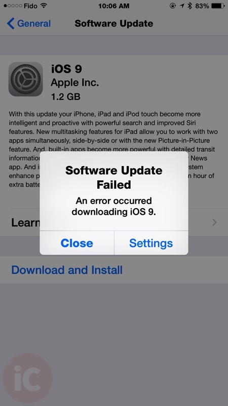 iphone software update failed ios 9 software update failed pop up resulting for 3193