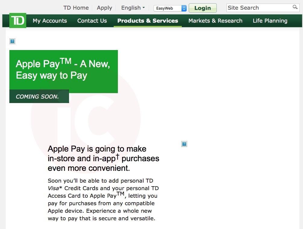 td canada trust apple pay
