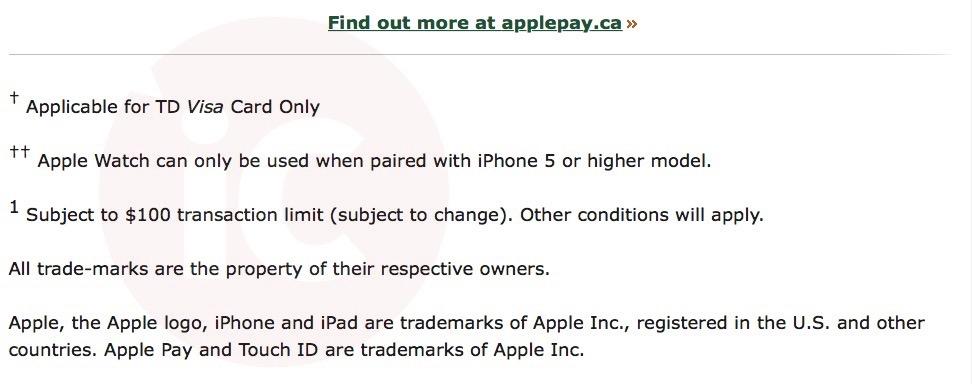 apple pay td visa