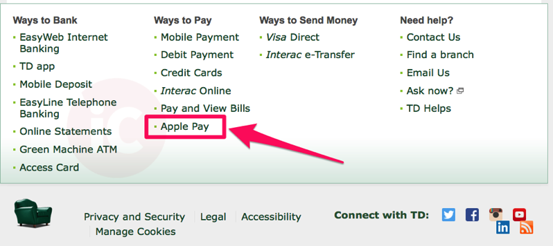 TD Canada Trust Website Lists Apple Pay Under