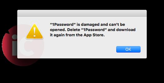 1password app error mac app store