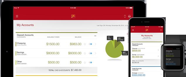 Mobile banking screen en