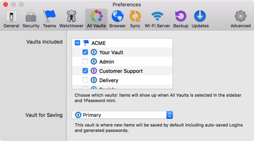 All vaults preferences
