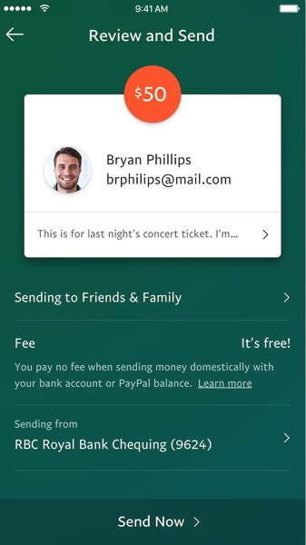 PayPal Canada Refreshed Mobile App Send Money Screen iOS