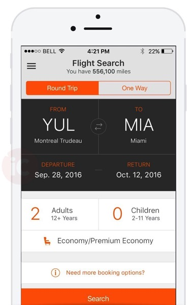 Aeroplan book flight
