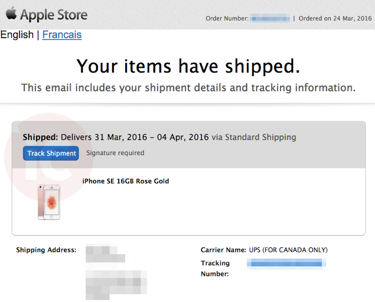 Iphone se shipped