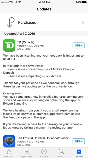 TD Canada for iOS to Get Optimized for iPhone 6/6 Plus Soon