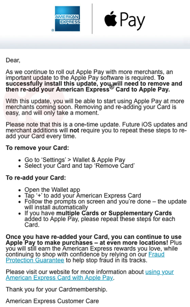 Amex apple pay update