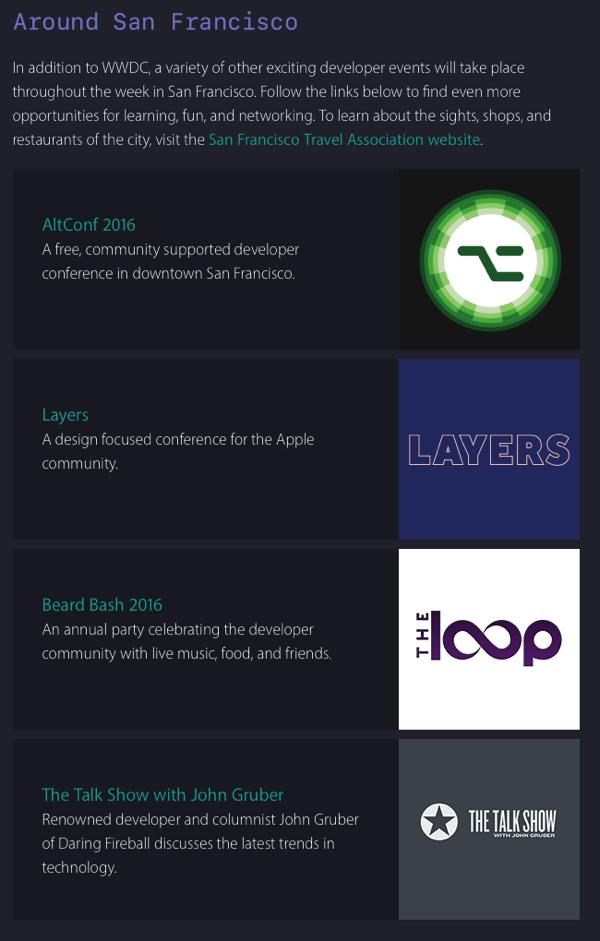 "Apple Promotes ""Other Exciting Developer Events"" Alongside"