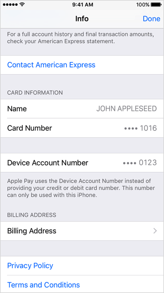 Iphone6 ios9 wallet info device card number